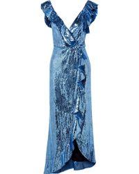 Monique Lhuillier - Wrap-effect Ruffled Sequined Crepe Midi Dress - Lyst