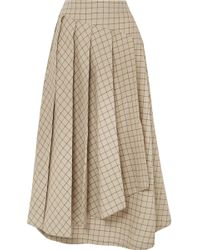 Awake - Pleated Checked Cotton Midi Skirt - Lyst
