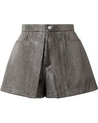 Chloé - Pleated Lamé Shorts - Lyst