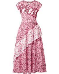 Gül Hürgel   Bead Embroidered Floral Midi Dress   Lyst