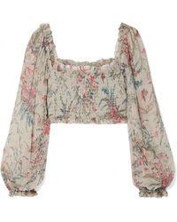 Zimmermann - Bayou Shirred Floral-print Silk-crepon Top - Lyst