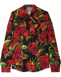 Dolce & Gabbana - Pussy-bow Floral-print Silk-blend Blouse - Lyst