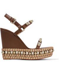 Christian Louboutin - Cataconico 120 Embellished Leather Wedge Sandals - Lyst