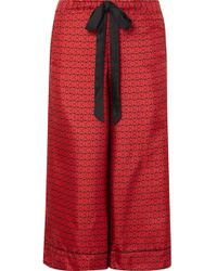 Kiki de Montparnasse - Desir Cropped Printed Silk-twill Pyjama Trousers - Lyst