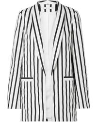 Alice + Olivia - Kylie Striped Cotton-blend Twill Blazer - Lyst