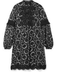 Anna Sui - Daisy Chain Minikleid Aus Chiffon Mit Blumenprint Und Häkelbesatz - Lyst
