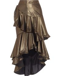 Johanna Ortiz - Asymmetric Ruffled Lamé Maxi Skirt - Lyst