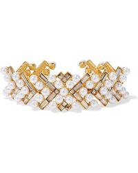 Oscar de la Renta - Gold-plated, Faux Pearl And Swarovski Crystal Bracelet - Lyst