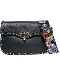 Valentino - Garavani The Rockstud Rolling Textured-leather Shoulder Bag - Lyst