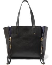 Chloé - Milo Medium Suede-trimmed Textured-leather Tote - Lyst