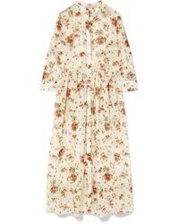 Brock Collection - Disco Floral-print Cotton-voile Midi Dress - Lyst