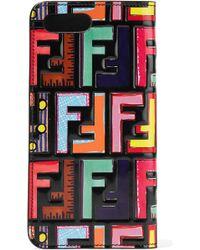 Fendi - Embossed Printed Leather Iphone 7 Plus Case - Lyst