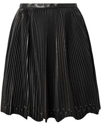 Elie Saab - Studded Plissé-leather Mini Skirt - Lyst