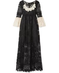 Anna Sui - Floral Diamond And Medallion Crocheted Lace Midi Dress - Lyst