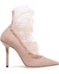 Jimmy Choo - Lavish 100 Glittered Tulle And Suede Pumps - Lyst