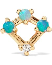 Wwake - Mini Four Point Gold, Opal And Diamond Earring Gold One Size - Lyst
