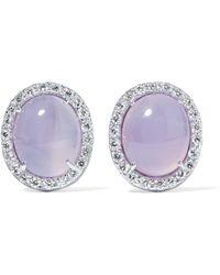 Kimberly Mcdonald - 18-karat White Gold, Moonstone And Diamond Earrings - Lyst