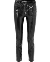 FRAME - Slick Cropped Patent-leather High-rise Slim-leg Pants - Lyst