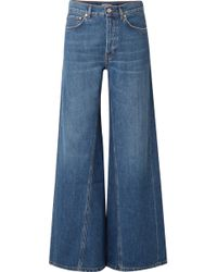 Ganni - High-rise Wide-leg Denim Trousers - Lyst