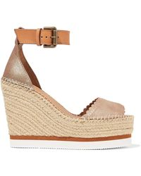 See By Chloé - Metallic Leather Espadrille Wedge Sandals - Lyst