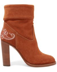 Etro - Embroidered Suede Ankle Boots - Lyst