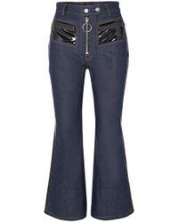 Ellery - Pedestrian Cropped Pvc-trimmed Flared Jeans - Lyst