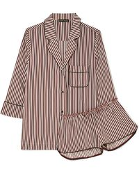 Love Stories - Jude L & Audrey H Striped Satin Pajama Set - Lyst