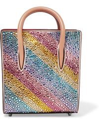 Christian Louboutin - Paloma Nano Embellished Metallic Textured-leather Tote - Lyst