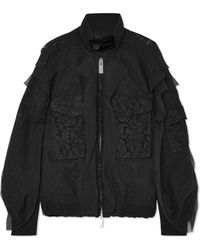 Sacai - Velvet-trimmed Chiffon And Lace Bomber Jacket - Lyst