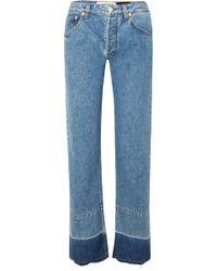 Loewe - Paula's Ibiza Twill-paneled Mid-rise Straight-leg Jeans - Lyst
