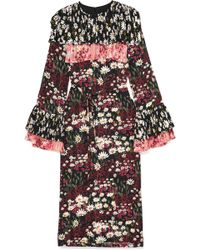 Mother Of Pearl - Anner Pleated Floral-print Silk-blend Georgette Midi Dress - Lyst