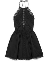 Charo Ruiz - Crocheted Lace-paneled Cotton-blend Mini Dress - Lyst