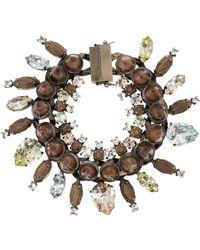 Givenchy - Bracelet En Métal Doré Rose, Cristaux, Obsidiennes Et Bois De Rose - Lyst