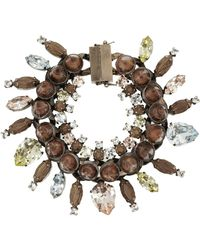 Givenchy - Rose Gold-Tone, Crystal, Obsidian And Rosewood Bracelet - Lyst