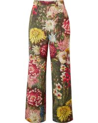 Gucci - Floral-print Wool And Mohair-blend Wide-leg Pants - Lyst