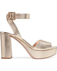 Miu Miu - Metallic Textured-leather Platform Sandals - Lyst