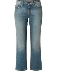 Saint Laurent - Cropped Mid-rise Flared Jeans - Lyst