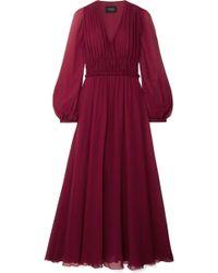 Giambattista Valli - Gathered Silk-chiffon Midi Dress - Lyst