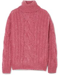 Max Mara - Cable-knit Mohair-blend Turtleneck Jumper - Lyst