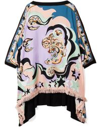 Emilio Pucci - Edie Fringed Printed Silk-twill And Chiffon Top - Lyst