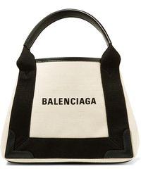 Balenciaga - Leather-trimmed Logo-print Canvas Tote - Lyst