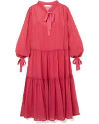 See By Chloé - Pussy-bow Cotton And Silk-blend Crepon Maxi Dress - Lyst
