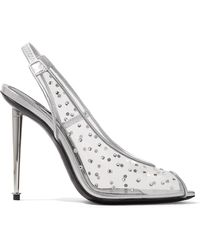 Tom Ford - Embellished Pvc And Metallic Leather Slingback Court Shoes - Lyst