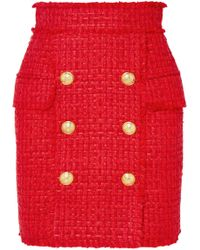 Balmain - Frayed Tweed Mini Skirt - Lyst