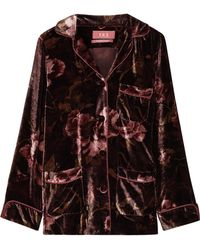 F.R.S For Restless Sleepers - Rea Floral-print Velvet Pajama Top - Lyst