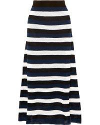 Sonia Rykiel - Striped Open-knit Wool-blend Midi Skirt - Lyst