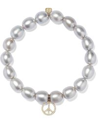 Sydney Evan - Peace Sign Pearl, Diamond And 14-karat Gold Bracelet - Lyst