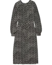 A.P.C. - Marguerite Belted Printed Crepe Midi Dress - Lyst