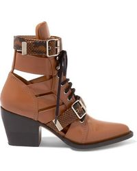 Chloé - Rylee Cutout Snake Effect-trimmed Leather Ankle Boots - Lyst