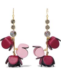 Marni - Gold-tone, Leather, Crystal And Resin Earrings - Lyst